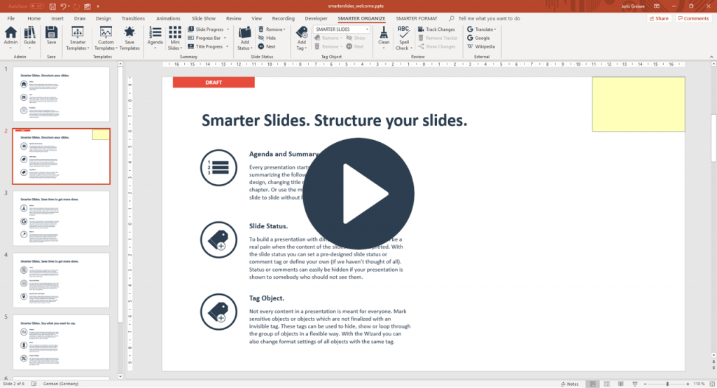 Add Status tags to PowerPoint slides with Smarter Slides