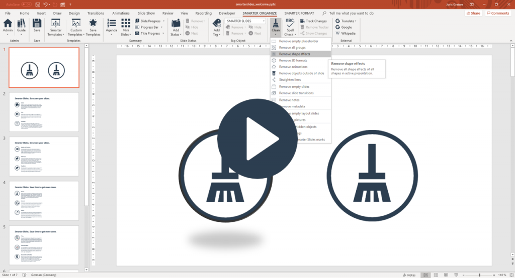 Remove empty slides or metadata in PowerPoint with Smarter Slides