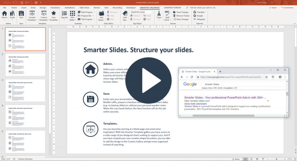 Search for keywords from PowerPoint with Smarter Slides