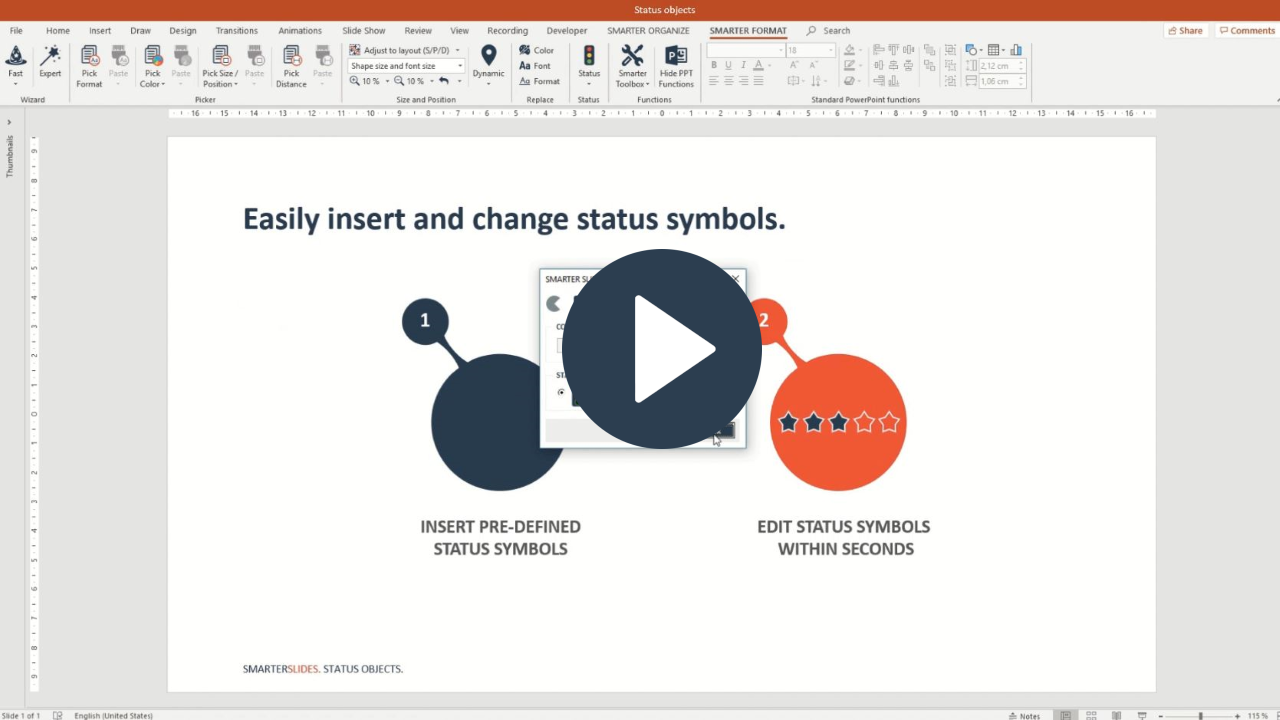 Add a status object to PowerPoint presentations with Smarter Slides